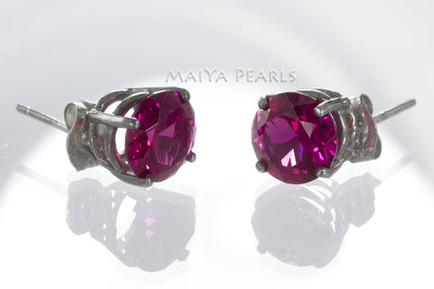 Stud Earrings - Red Ruby & 925 Sterling Silver