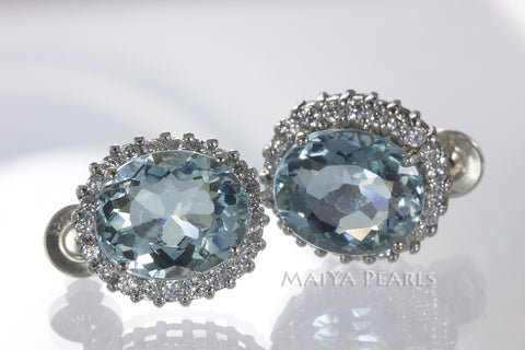 Earrings Studs  - White Sapphire and Aqua Marine Gem