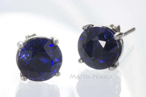 Stud Earrings -  Blue Sapphire & 925 Sterling Silver