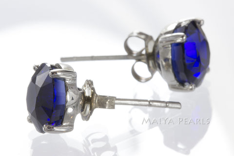 Stud Earrings - Dark Blue Sapphire & 925 Sterling Silver Settings