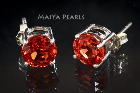 Stud Earrings - Orange Sapphire & 925 Sterling Silver Settings