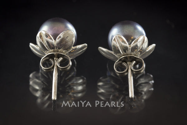 Stud Earrings - Dark Purple Round Pearls with Flower Cup