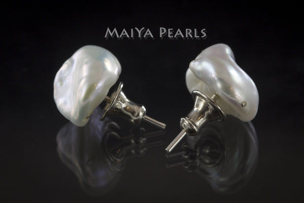 Stud Earrings  -  White Baroque Pearls & 925 Sterling Silver