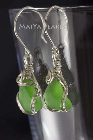 Earrings - Green Sea Glass & Argentium Silver Custom Wirework
