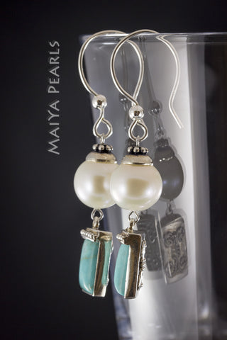 Earrings -  Round White Pearl, Turquoise, & 925 Sterling Silver Settings