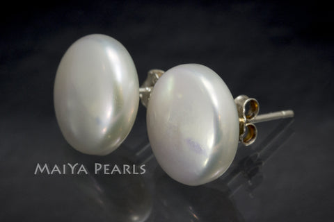 Stud Earrings - White Button Pearls (High Lustre)