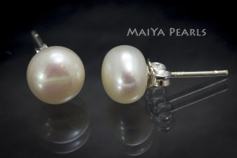 Stud Earrings - White Button Pearls (various sizes)