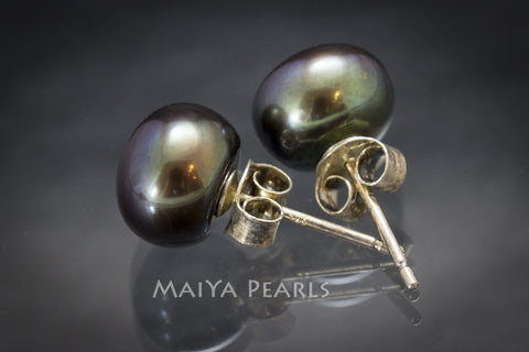 Stud Earrings - Greenish Black Button Pearl Studs