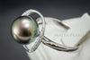 Ring - Exquisite Tahitian AAA Black Pearl, Diamonds, & 18K White Gold