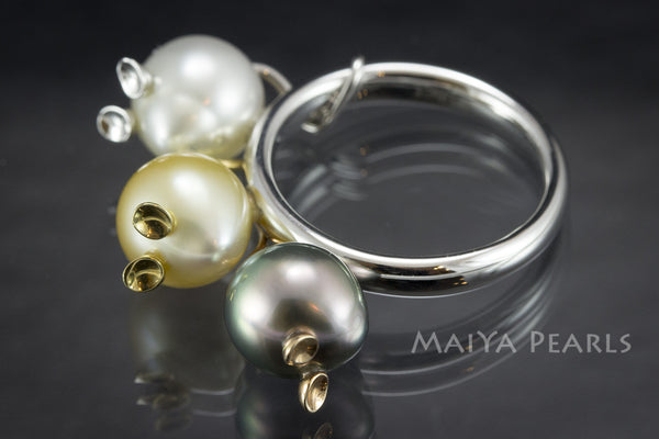 Ring - Three Blind Mice Multi Coloured Pearls and 18K Gold