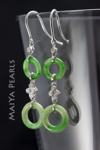 Earrings - AAA Jadeite, Diamonds, and 18K White Gold
