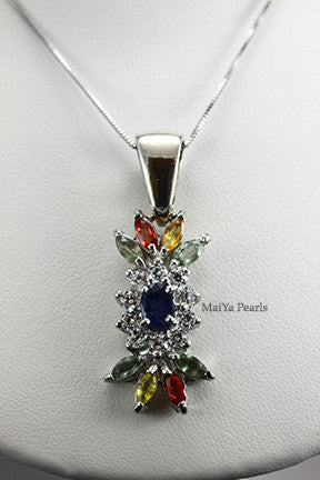Pendant- Blue Sapphire with multi color gemstones