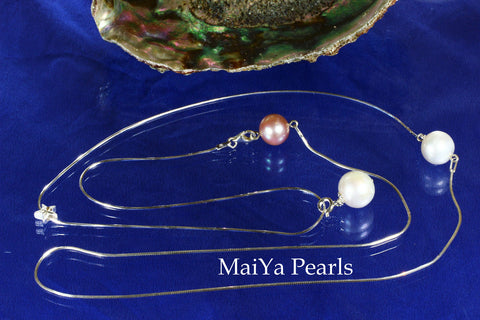 Necklace - Sleek, Classy & Sexy - 3 Large Pearls & Long Slender Snake Chain