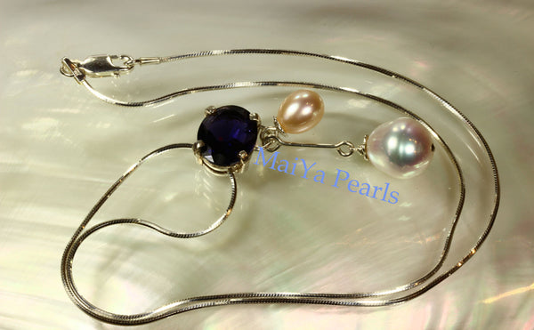 Necklace - A+ Iolite Faceted & High Lustre White & Peach Waterdrop Freshwater