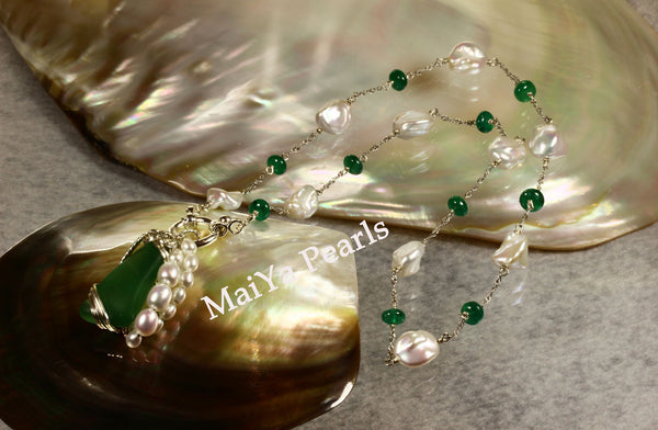Necklace - Rare Beautiful Emerald (natural) & Keshi Pearl FW