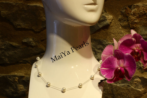 Necklace - 14k White Gold & AAA Fine Freshwater Pearls Round White