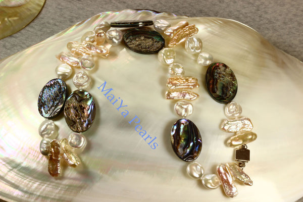 Necklace - Paua Sea Shell Natural & Cultured White Keshi Pearls, Peach Stick / Biwa Pearls