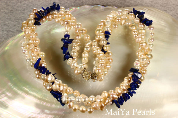 Necklace - 3-Strand Twisted Pearls with Lapis