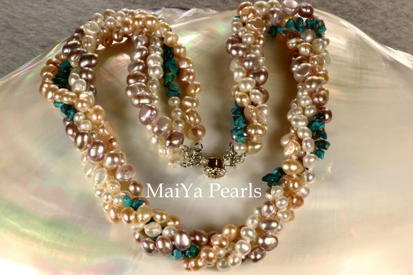 Necklace - 4-Strand Twisted Pearls with Turquoise