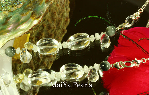 Necklace - Convertible - Natural Crystal & Cat's Eye with Moonstones