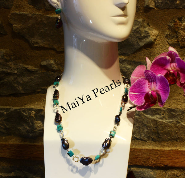Necklace - Convertible Large Purplish Navy Blue Pearl Nuggets & Square Turquoise