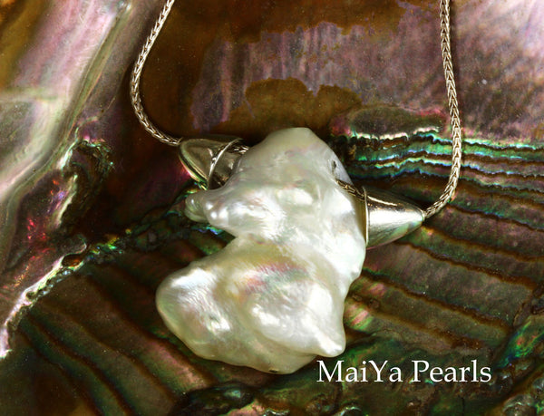 Necklace - Pendant Style - Unique White Keshi Pearl FW