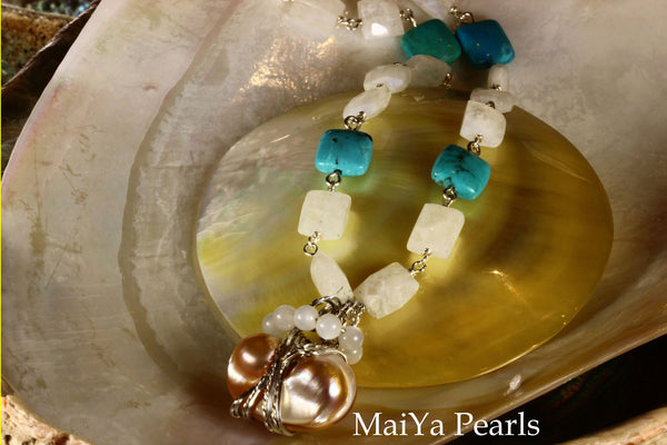 Necklace - Square Moonstone & Turquoise with Wire Sculpted Pearl Charm