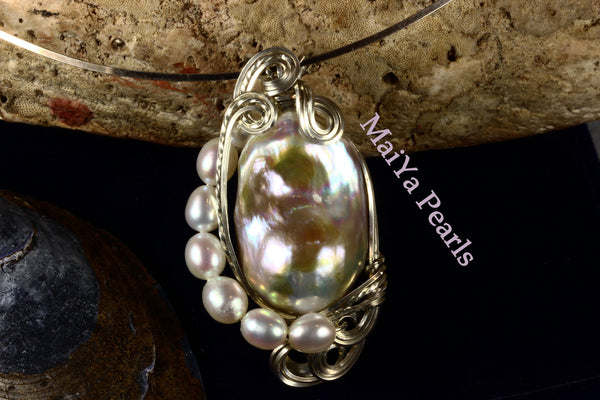 Pendant - Wire Sculpted Iridescent Multi-color Large Baroque Pearl Lavender