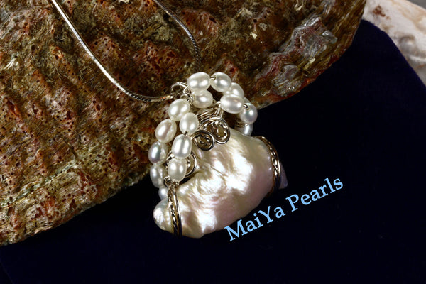 Pendant - Wire Sculpted Unique Large Keshi Pearl White