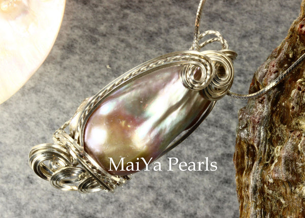 Pendant - Purple Pearl-on-Fire Wire Sculpted