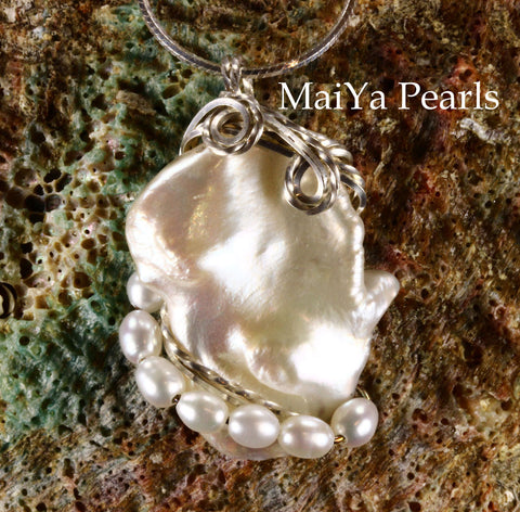 Pendant - White Keshi Pearl & SS Wire Wrapped