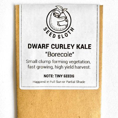 Kale - Dwarf Curley Leaf Borecole - Vegetable Seed packet - seedsloth.com