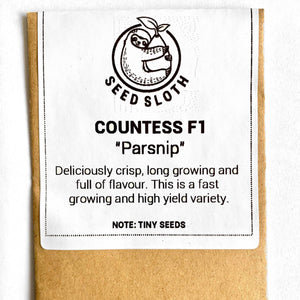 Parsnip - Countess F1 - Vegetable Seed packet - seedsloth.com