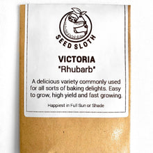 Load image into Gallery viewer, Rhubarb - Victoria - Vegetable Seed packet - seedsloth.com