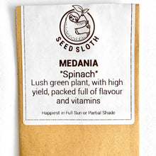 Load image into Gallery viewer, Spinach - Medania - Vegetable Seed packet - seedsloth.com