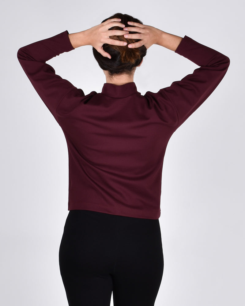 Egret Top Long Sleeve 2-in-1 in Burgundy - PARIDAEZ