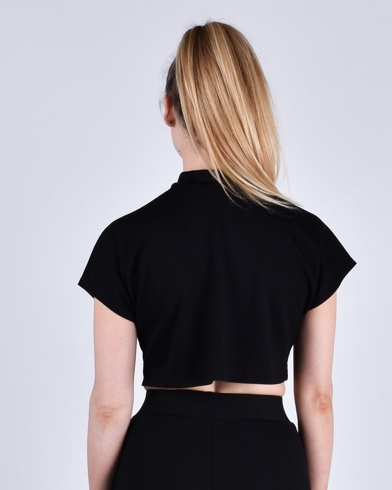 Egret Crop Cap Sleeve 2-in-1 in Black - PARIDAEZ