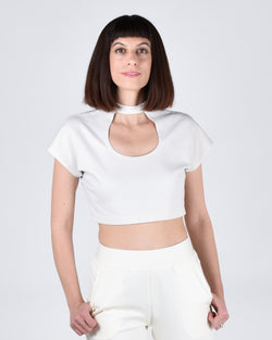 Egret Crop Cap Sleeve 2-in-1 in Cream - PARIDAEZ