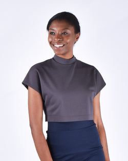 Egret Crop Cap Sleeve 2-in-1 in Pewter - PARIDAEZ