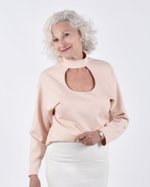 Egret Top Long Sleeve 2-in-1 in Blush - PARIDAEZ