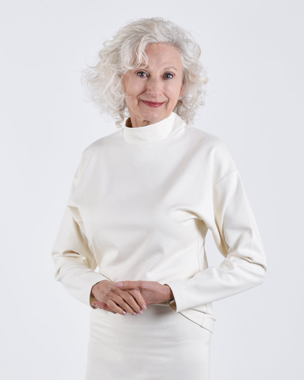 Egret Top Long Sleeve 2-in-1 in Cream - PARIDAEZ