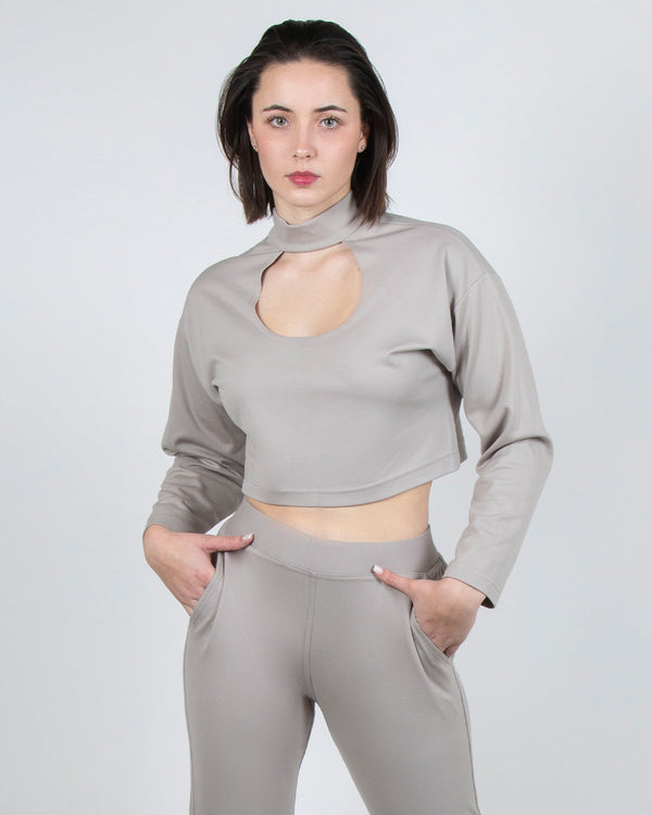 Egret Long Sleeve Crop 2-in-1 in Taupe