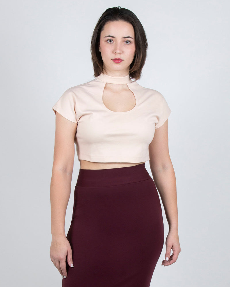 Egret Crop Cap Sleeve 2-in-1 in Light Blush