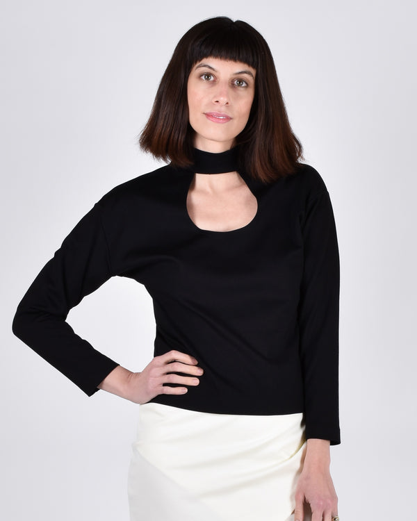 Egret Top Long Sleeve 2-in-1 in Black - PARIDAEZ