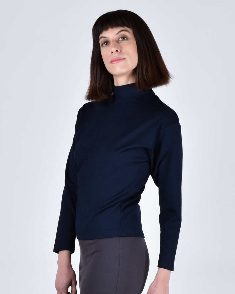 Egret Top Long Sleeve 2-in-1 in Navy - PARIDAEZ