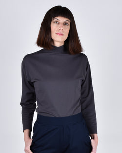 Egret Top Long Sleeve 2-in-1 in Pewter - PARIDAEZ