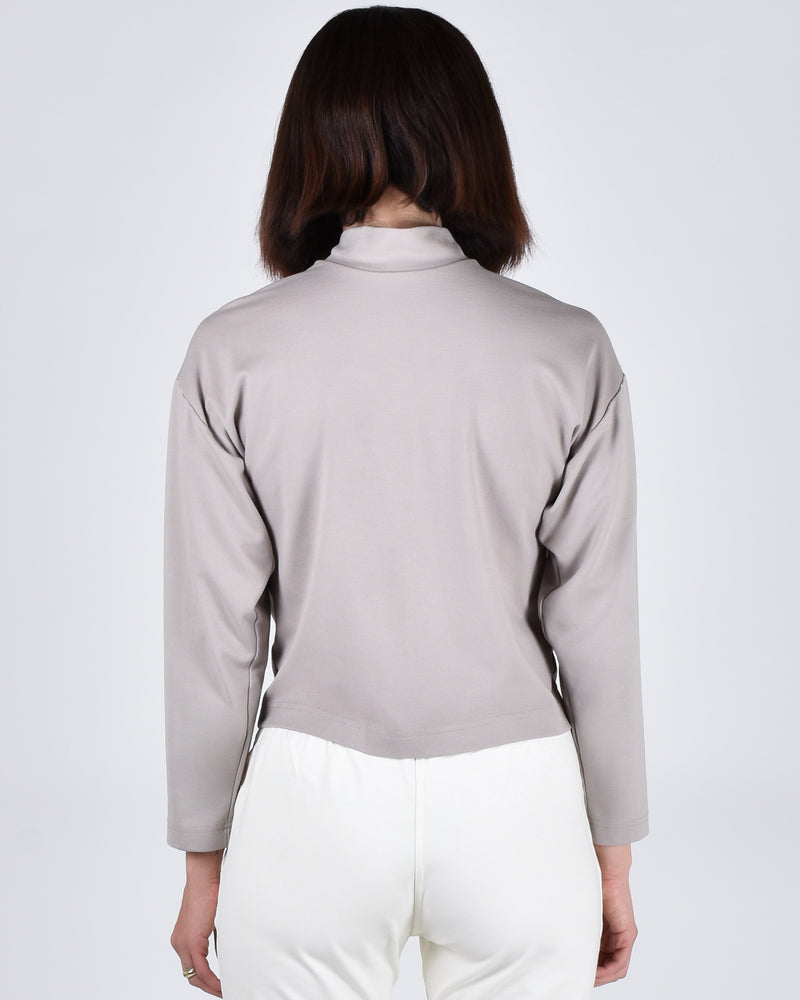 Egret Top Long Sleeve 2-in-1 in Taupe - PARIDAEZ