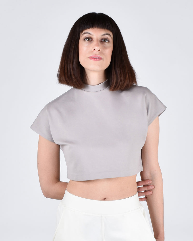 Egret Crop Cap Sleeve 2-in-1 in Taupe - PARIDAEZ