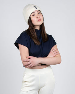 Egret Crop Cap Sleeve 2-in-1 in Navy