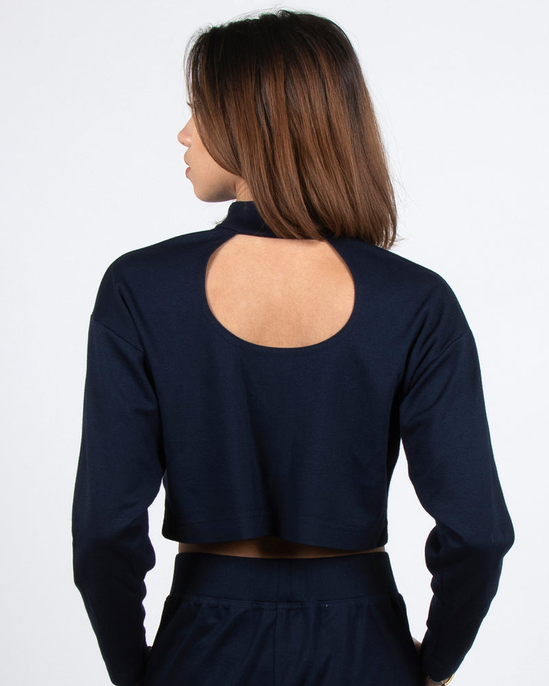 Egret Long Sleeve Crop 2-in-1 in Navy